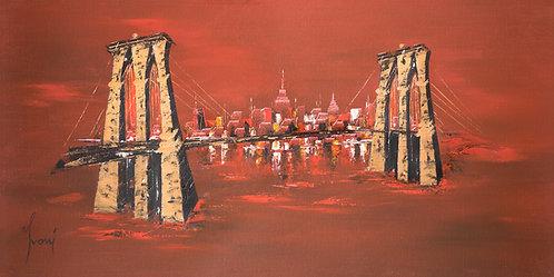 """Brooklyn Bridge - Red"" Giclee Print on Canvas"