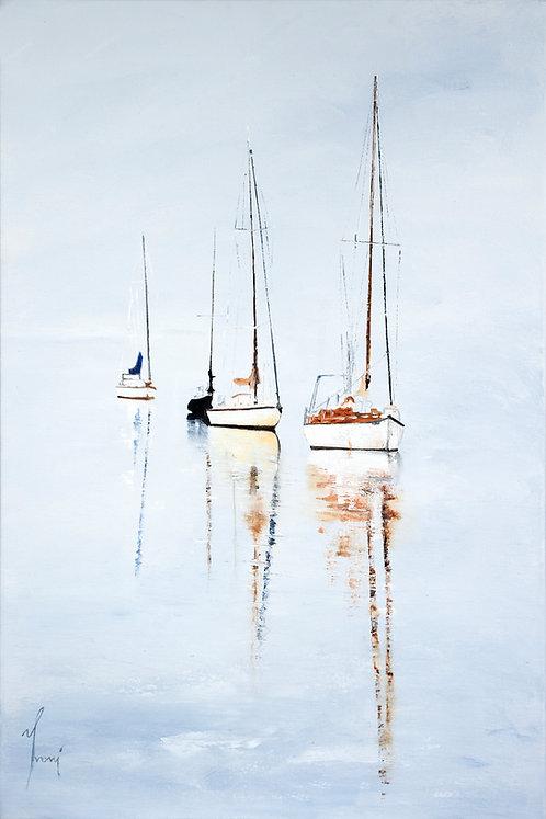 """""""Yvoni - Three Boats"""" Fine Art Paper Print"""