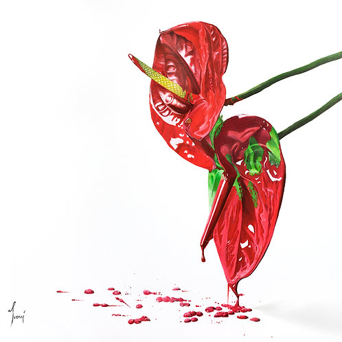 """Anthurium"" Giclee Lithograph Canvas Print"