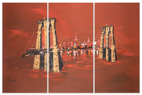 """Brooklyn Bridge - Red"" Hand Painted Original - Triptych"