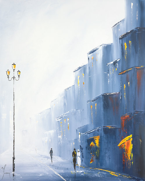 """Strolling Around the Blue City""  Giclee Lithograph Canvas Print"