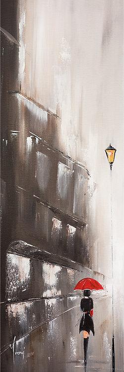 """""""Walk in the Rain"""" 4X12 Giclee Lithograph Canvas Print"""