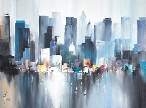 """Midtown Sailing - Blue"" Giclee Print on Canvas"