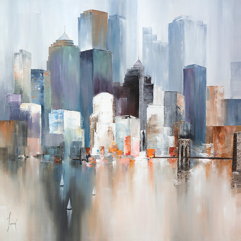 """""""Midtown - View from Brooklyn Heights""""  Hand Painted Original"""