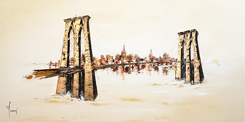 """Brooklyn Bridge - Sienna""  Lithograph Canvas Print"