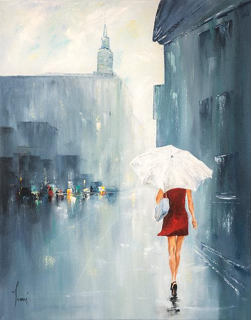 """White Umbrella"" Giclee Lithograph Canvas Print"