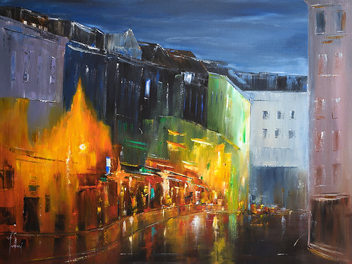 """Nightlife in Brooklyn"" Giclee Lithograph Canvas Print"