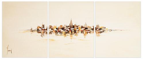 """NYC Skyline - Sienna""  Hand Painted Original - Triptych"