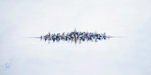 """NYC Skyline - Blue""  Fine Art Paper Print"
