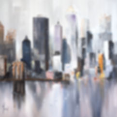 paintings by yvoni MIDTOWN SAILING by the bridge purple