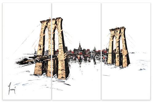 """Brooklyn Bridge - Classic""  Hand Painted Original - Triptych"