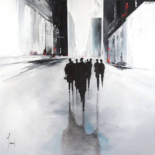 """Shadows on White Street""  Giclee Lithograph Canvas Print"
