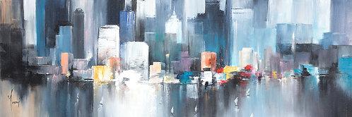 """Midtown Sailing - Blue"" 4X12 Giclee Lithograph Canvas Print"