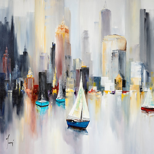 """Midtown Sailing"" Giclee Lithograph Canvas Print"