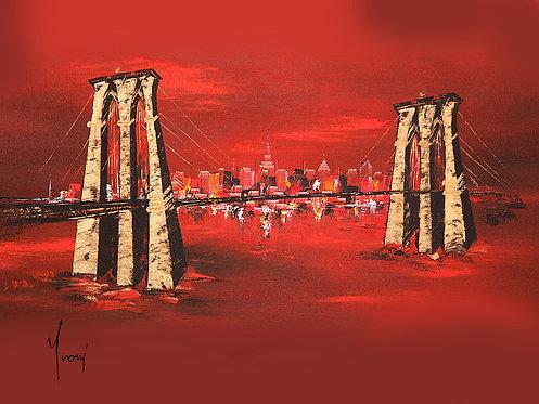 """Brooklyn Bridge - Red"" Lithograph Canvas Print"