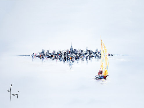 """""""Sailing in Silence - One Boat"""" Giclee Lithograph Canvas Print"""