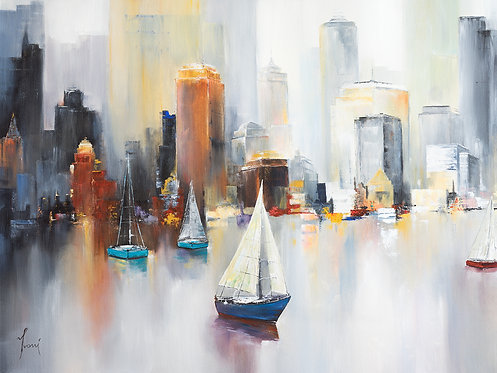"""Midtown Sailing"" Giclee Lithograph Canvas Print"