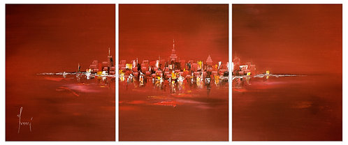 """""""NYC Skyline - Red""""  Hand Painted Original - Triptych"""