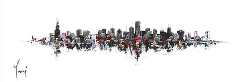 """""""Chicago Skyline - Classic"""" 4X12 Giclee :ithograph Canvas Print"""