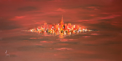"""""""NYC Skyline - Red Closer""""  Giclee Print on Canvas"""