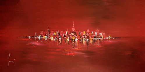 """""""NYC Skyline - Red"""" Lithograph Canvas Print"""