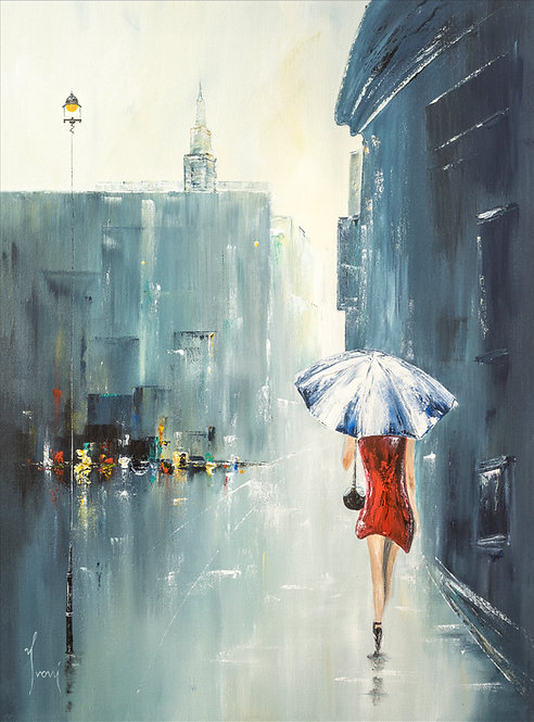 """Blue Umbrella"" Hand Painted Original"