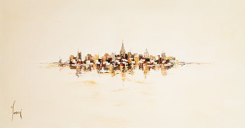 """NYC Skyline - Sienna"" Lithograph Canvas Print"