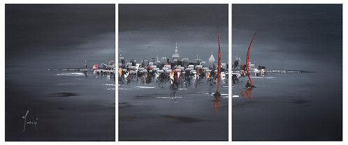 """""""Sailing at Midnight""""  Hand Painted Original - Triptych"""