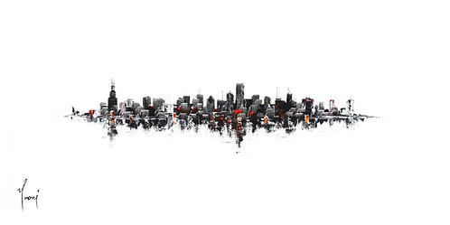 """Chicago Skyline - Classic"" Lithograph Canvas Print"