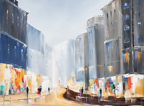 """""""Shops on Broadway"""" Giclee Lithograph Canvas Print"""