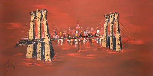 """Brooklyn Bridge - Red"" Lithograph Canvas Print"