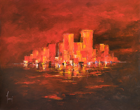 """DownTown - Red"" Lithograph Canvas Print"