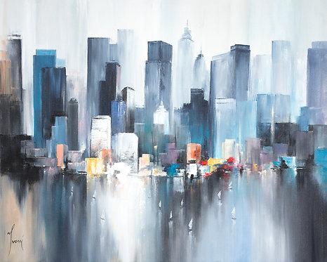 """Midtown Sailing Blue"" Giclee Lithograph Canvas Print"