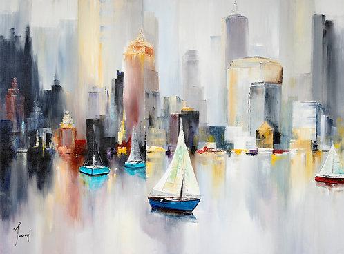 """Midtown Sailing""  Giclee Print on Canvas"