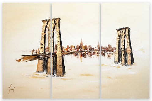 """Brooklyn Bridge - Sienna""  Hand  Painted Original - Triptych"