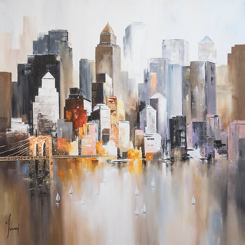 """""""Midtown - View from Williamsburg""""  Hand Painted Original"""