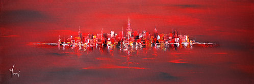 """NYC Skyline - Red"" 4X12 Giclee Lithograph Canvas Print"