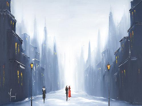 """Winter Walk"" Giclee Lithograph Canvas Print"