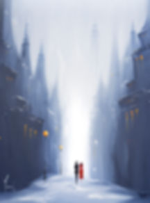 paintings by yvoni WINTER WALK - CLOSER