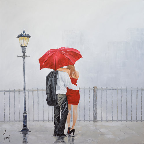 """Red Umbrella"" Giclee Lithograpf Canvas Print"