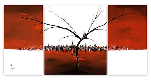 """""""A Tree Grows in Brooklyn - Red""""  Hand Painted original - Triptych"""