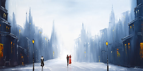 """Winter Walk - Classic""  Giclee Lithograph Canvas Print"