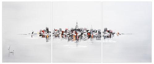 """NYC Skyline - Grey""  Hand Painted Original - Triptych"