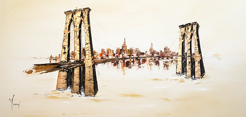 """Brooklyn Bridge - Sienna"" Hand Painted Original"
