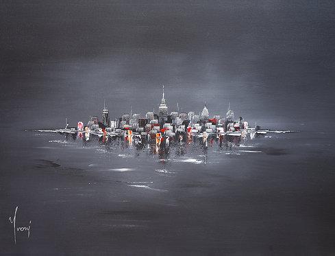 """NYC Skyline - Black"" Giclee Lithograph Canvas Print"