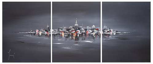 """NYC Skyline - Black""  Hand Painted Original - Triptych"