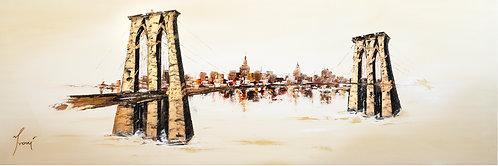 """""""Brooklyn Bridge - Sienna"""" Lithograph Canvas Print"""