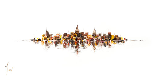 """""""NYC Skyline - Sienna on White"""" Lithograph Canvas Print"""