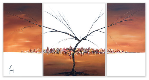 """""""A tree Grows in Brooklyn - Sienna""""  Hand Painted Original - Triptych"""
