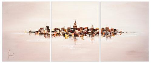 """NYC Skyline - Sand""  Hand Painted Original - Triptych"